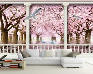 3D Vogel pink Wald 864 Tapete Wandgemälde Tapete Tapeten Bild Familie DE Summer