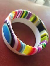 Vintage unmarked Sobral pop art resin bangle bracelet Brazil