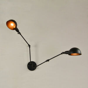 Details About Vintage Double Wall Sconce Swing Arm Lamp Adjule Metal Light