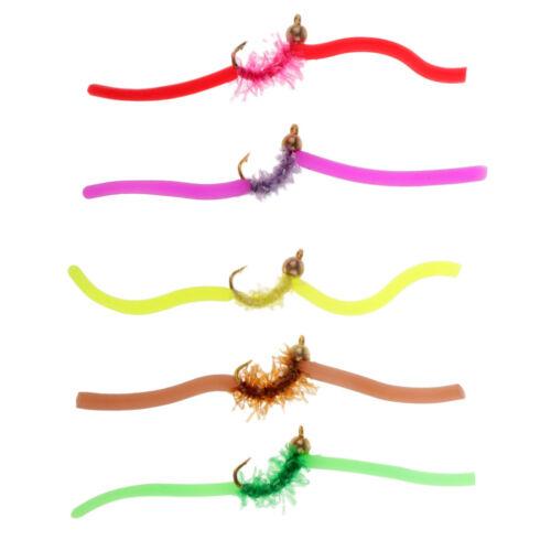 5pcs Beadhead Squirmy Wormy Wormie San Juan Worm Fly Fishing Flies 10 Colors