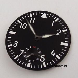 38-9mm-Black-Watch-Dial-White-Marks-Luminous-Hands-Fit-ETA-6498-st3600-Movement