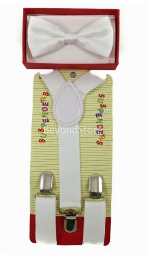 New Children Kids Boys Girls Suspender /& Bowtie Matching Colors Set NEW