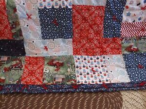 Turning-21-Patchwork-Finished-Quilt-Large-and-Warm-NEW-Patriotic-Colors