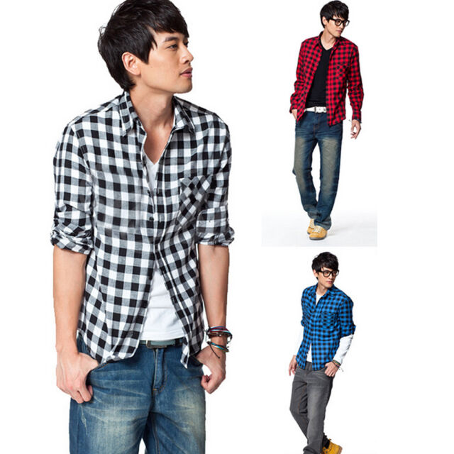 Fashion Men Classic Plaid Check Slim Sleeve Shirt Korean Style Casual Long Coat