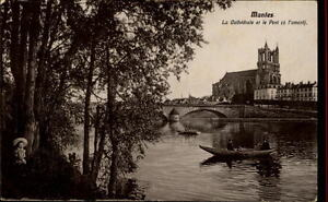 Mantes-France-CPA-1910-20-Cathedrale-et-le-Pont-Fluss-Kathedrale-Boote-Bruecke