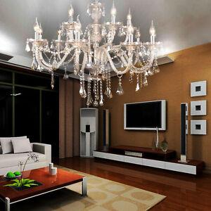 15-Arms-Cristal-Candle-Decoration-Lustre-pendentif-plafond-Lampe-Chandelier