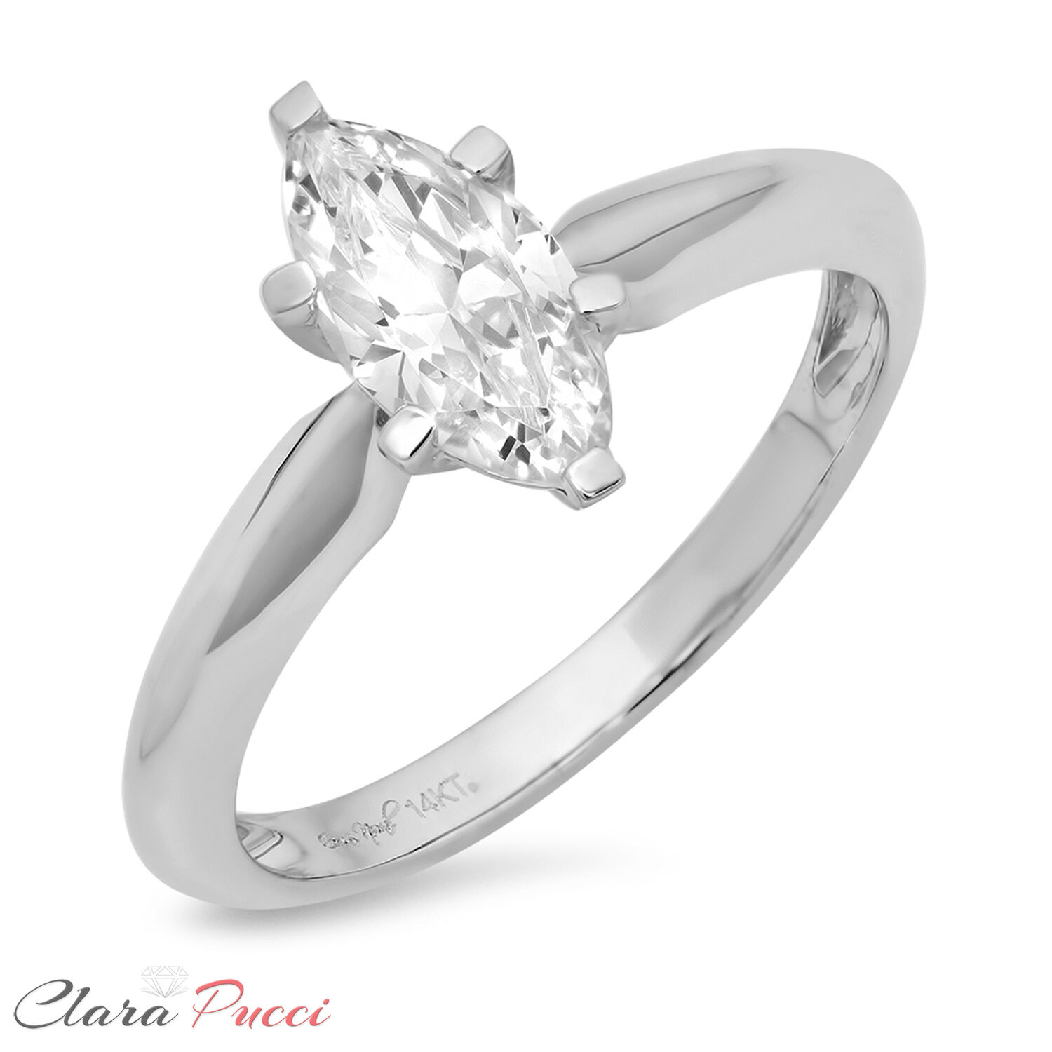 1.5ct Marquise Cut Solitaire Promise  Engagement Wedding Ring 14k White gold