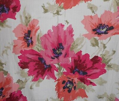 Vintage Retro Mod Abstract Poppy Floral Cotton Fabric ~ Magenta Pink Melon Sage