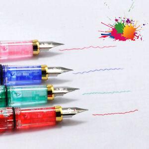 WING-SUNG-3008-Transparent-Gold-Silver-Clip-Fountain-Pen-Fine-Nib-0-5mm-Random