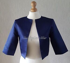 Navy-Blue-Satin-Bolero-Shrug-Cropped-Jacket-Stole-Shawl-Wrap-3-4-Wedding-4