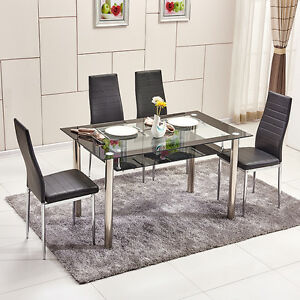 2 Tier Glass Dining Table High Back Faux Leather Chairs Set Black Dining Room