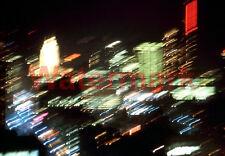 VERY COOL Blurred Light Downtown Aerial Night View Chicago 1966 Kodak 35mm Slide
