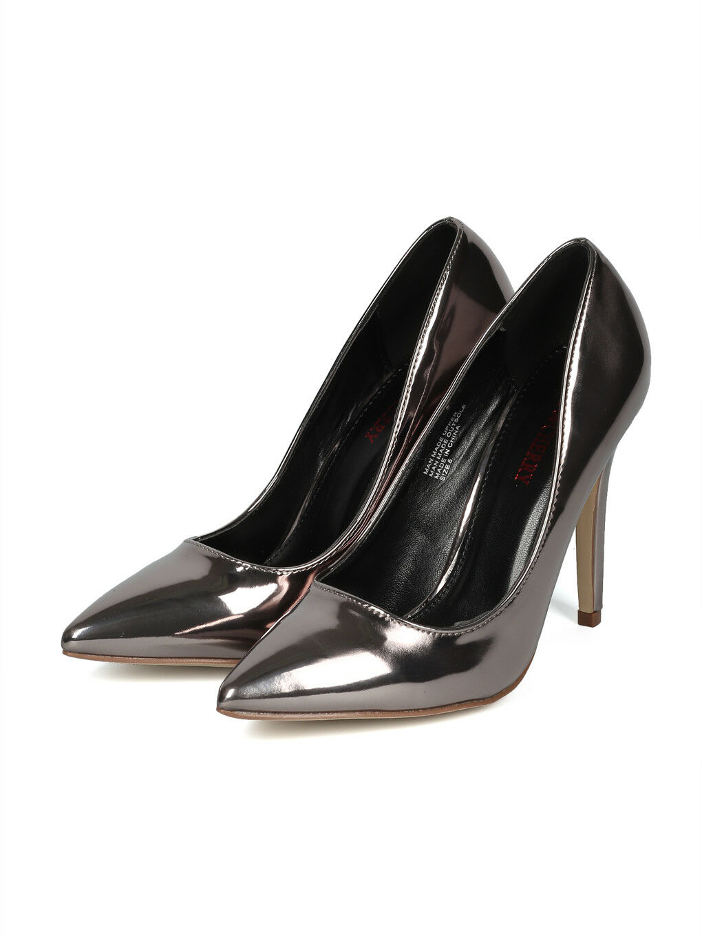 New Women Metallic Leatherette Pointy Toe Stiletto Pump - 17917 By Red Cherry