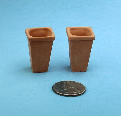 Terra Cotta Clay Wall Flower Pots Lot of 2 Dollhouse Miniature Flat Back