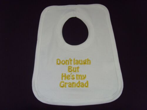 Funny brodé personnalisé bib baby shower cadeau ne riez pas mais il est grand-père