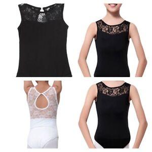 b077102bf9c5ae Image is loading Black-Leotard-Lace-Open-Back-Ballet-Dance-Bodysuit-