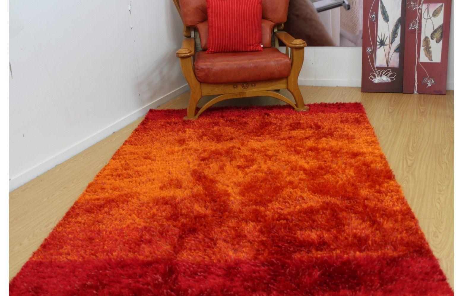 Tappeto Shaggy Super Morbido Whisper Coloreee Arancione S-M-grandi dimensioni in vendita promozionale