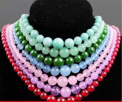 18 inch long light dark Jade round Beads bead beaded Necklace jewelry V308-13-18