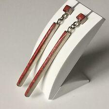 Boucles d'Oreille en Argent Massif et Pierre Rouge Etat Neuf Earrings