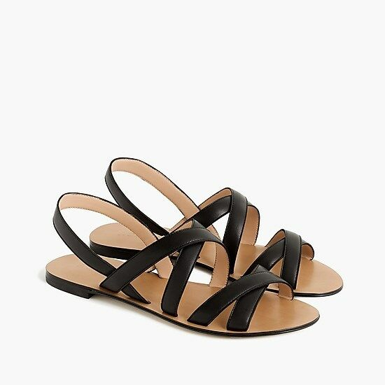 NWT Strap J. Crew Women's Cross Strap NWT Sandals in Leather - Black - Size 7 3e1169