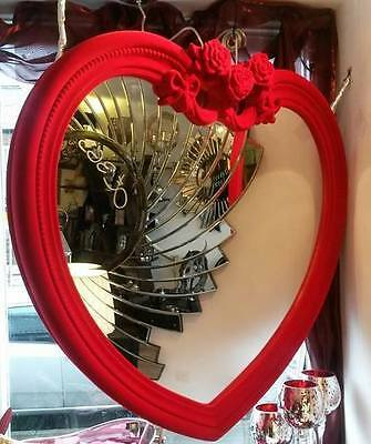 "Very Large Heart Shaped Mirror 38""x35""Red & Pink flocked and feel like velvet"