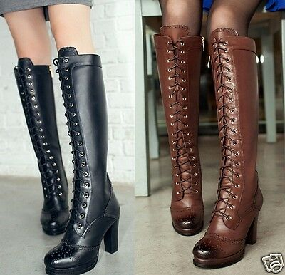 Womens Leather Lace Up Zip Block Heel Knee High Riding Boots Shoes Plus Size