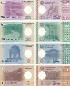 Adroit Le Tadjikistan/neiges - 1 + 5 + 20 + 50 Dirams 1999 Unc Pick 10-11-12-13-afficher Le Titre D'origine Peut êTre à Plusieurs Reprises Replié.