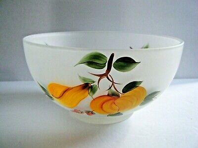 Vintage Hand Painted Frosted Glass Fruit Salad Serving Bowl 10 Ebay