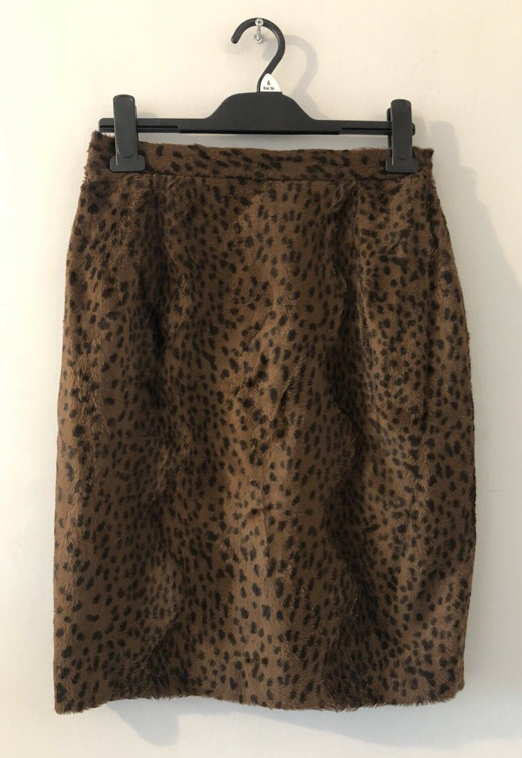 Vintage Harrods Knightsbridge Brown Faux Fur Lined Animal Print Skirt   10