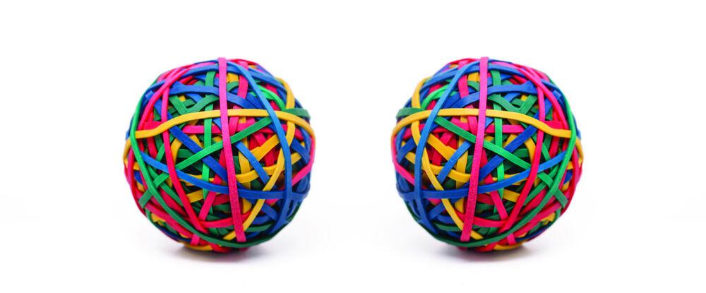 2 Balles D'élastiques Caoutchouc Ø70mm- 200g- 200 élastiques Colorés Par Balle