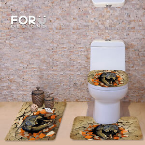 Groovy Details About 3D Effect Dinosaur Bathroom Carpet Set 3Pcs Pedestal Rug Toilet Seat Cushion Rug Gmtry Best Dining Table And Chair Ideas Images Gmtryco