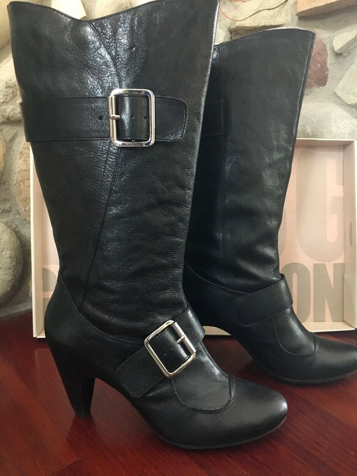 BCBG women's size 7.5 M tall black leather boots block heel with buckles