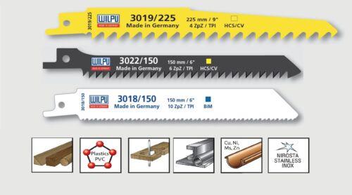 3 pcs sabre lames de scie set bi-métal//ICO pour scie inox bois métal wilpu