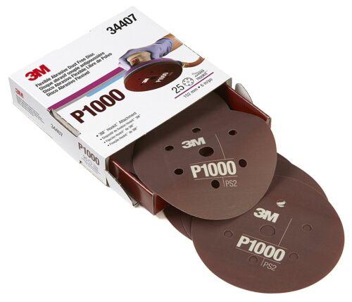 P1000 3M 34407 Flexible Abrasive Hookit Discs Dust Free 6 inch