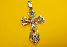 P1 14K GOLD PENDANT JESUS on the CROSS god crucifix 2 Multi-tone god