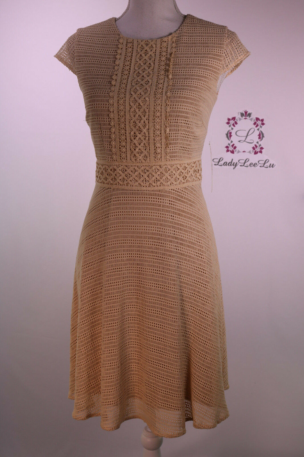 Antonio Melani New Edana Lace Cap Sleeve Dress Chamomile Größe 2 4 New NWT