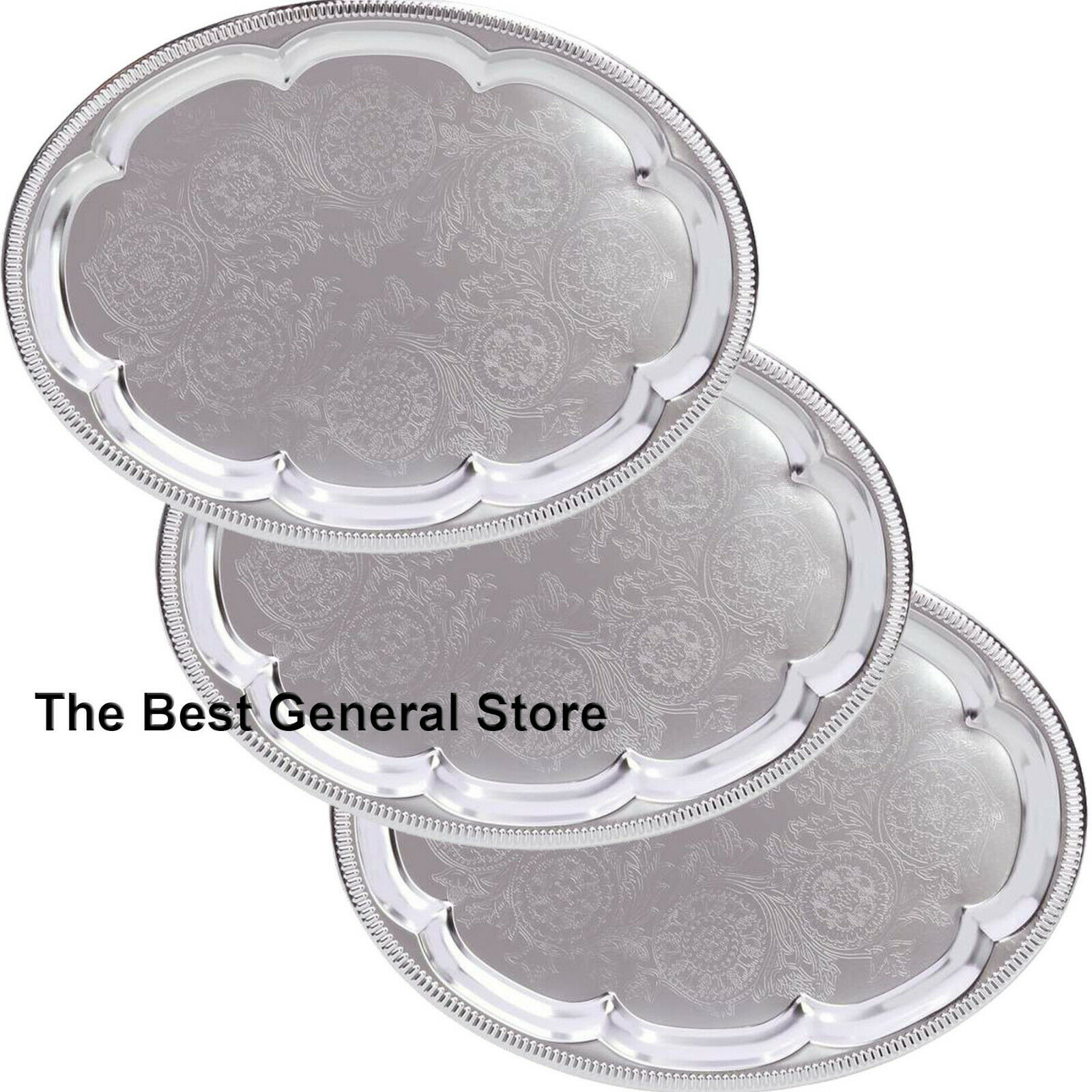 Lot Of 4 Silver Finish Oval Serving Trays Wedding Catering Party Tray Platter For Sale Online Ebay