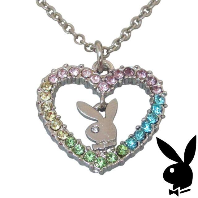 Playboy Necklace Heart Pendant Silver Rainbow Crystal Lesbian Gay Pride LGBTQ f6