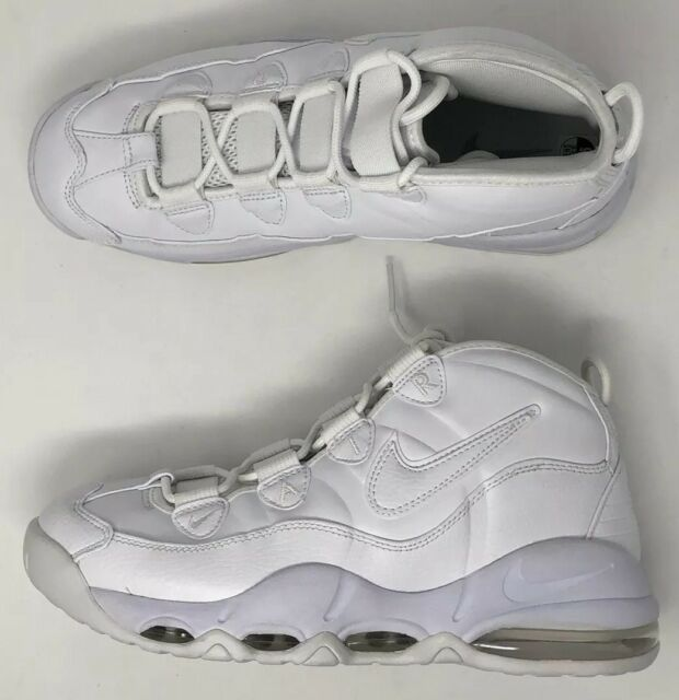1da915bf59 Nike Air Max Uptempo 95 Triple White Classic Men Basketball Shoes ...