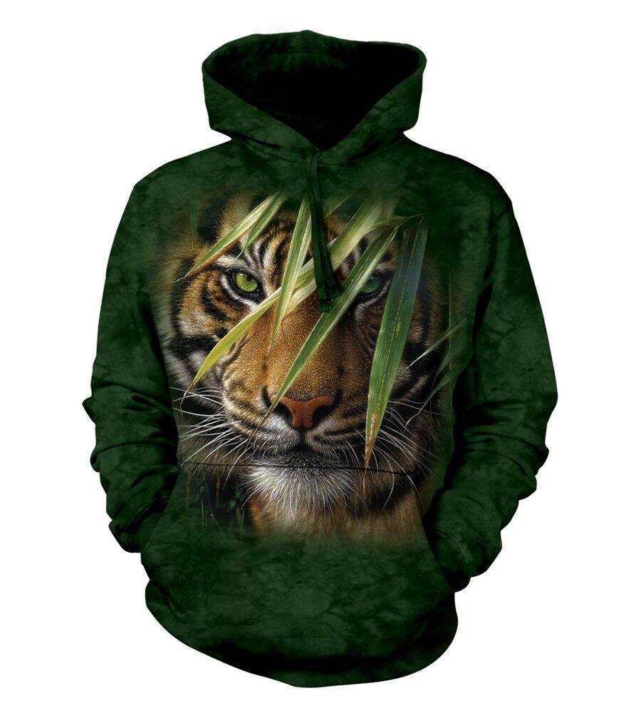 La MONTAGNA UNISEX ADULTO FORESTA DI SMERALDO Tigre Animale Felpa con Cappuccio