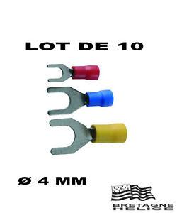 10 Cosses A Fourche A Sertir Rouge Pour CÂble 0.5 A 1 Mm2 Trou Ø 4 Mm Qguofhz5-07231955-601491331
