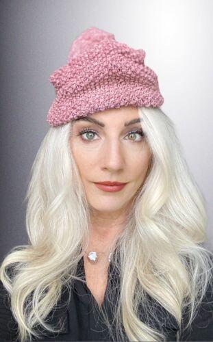 VTG Knit Hat Dusty Rose Pink Metallic Hand-Knit 1… - image 1