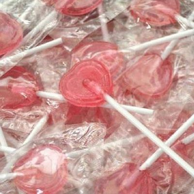 Red Love Heart Shaped Lollipops Lollies Wrapped Wedding Sweets Qty 10 - 200