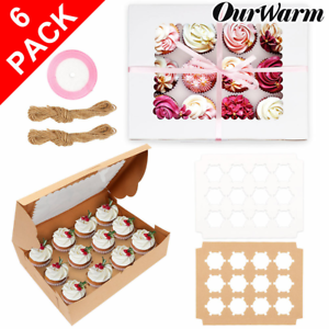 6-Pack-PREMIUM-Windowed-Mini-Cupcake-Boxes-for-12-Cup-Cakes-With-Inserts-Decor