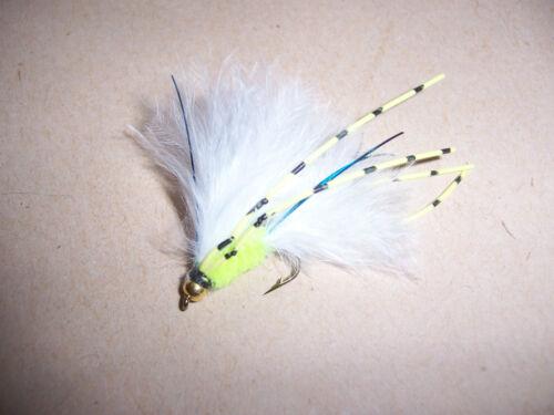 NUOVO 3 x goldhead vibrante Cats Whisker Taglia 10 Giallo /& Nero Gambe Salmoflies