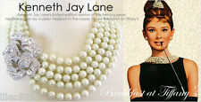 Kenneth Jay Lane Pearl Crystal Audrey Hepburn Breakfast Necklace Wedding GATSBY