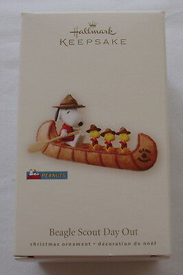 Hallmark 2008 Snoopy Woodstock Beagle Scouts Day Out Canoe Christmas Ornament