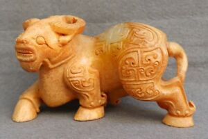 Chinese-Exquisite-Hand-carved-Cattle-Carving-Hetian-jade-statue