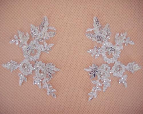 Motivo de boda nupcial de encaje y apliques Con Cuentas Floral Blanco Apagado cose en ajuste 1 Par