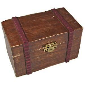 Decorative Dark Wood Trinket Box With Hinged Lid Ebay